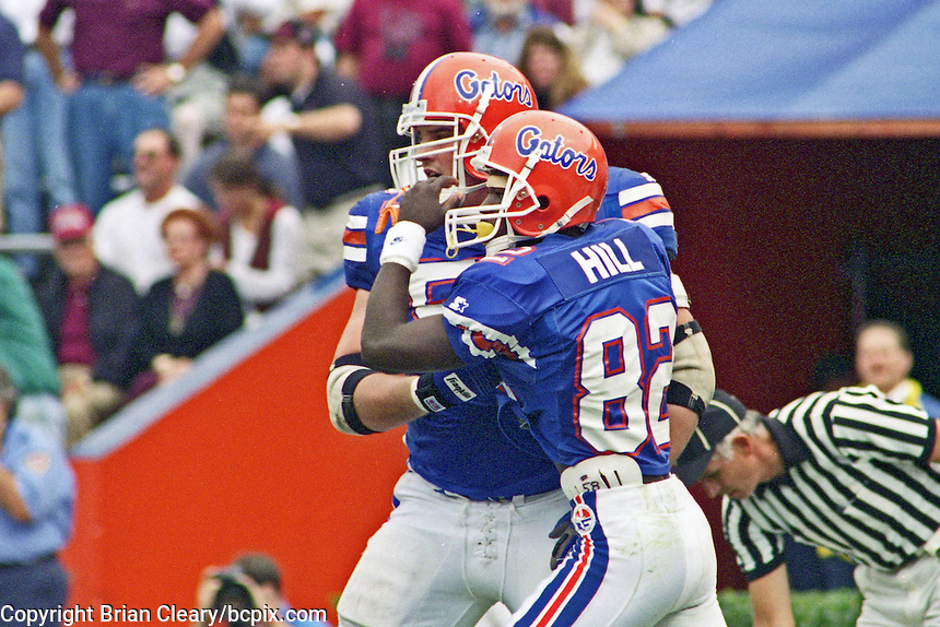 Aubrey Hill (82), University of Florida Gators defeat the University of South Carolina Gamecocks 48-17 at Ben Hill Griffin Stadium, Florida Field, Gainseville, Florida, November 12, 1994 . (Photo by Brian Cleary/www.bcpix.com)