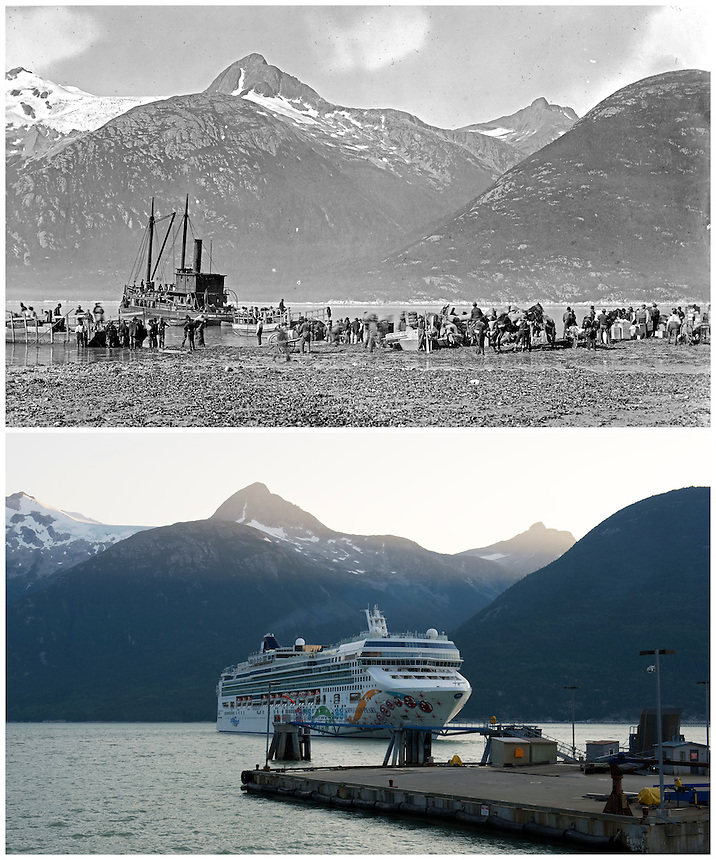 Photo Station SK-05: Skagway. View southwest from the waterfront area of Skagway, Alaska. Repeat photo taken August 14, 2013 by Ronald D. Karpilo Jr.  Historic photo taken c. August 1897 by L.V. Winter and E.P. Pond, (Klondike Gold Rush National Historical Park, archive # 55745).