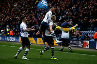 9th November 2019; Deepdale Stadium, Preston, Lancashire, England; Championship Football, Preston North End versus Huddersfield Town; Jayden Stockley of Preston North End celebrates after he scores his side's first goal after 4 50 minutes to make the score 1-0 - Strictly Editorial Use Only. No use with unauthorized audio, video, data, fixture lists, club/league logos or 'live' services. Online in-match use limited to 120 images, no video emulation. No use in betting, games or single club/league/player publications
