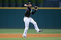Charlotte Knights shortstop Tim Anderson (7) makes a throw to first base against the Columbus Clippers at BB&T BallPark on May 3, 2016 in Charlotte, North Carolina.  The Clippers defeated the Knights 8-3.  (Brian Westerholt/Four Seam Images)