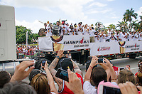 Band performs at Miami Heat NBA 2013 Championship parade, Biscayne Boulevard, American Airlines Arena, Miami, FL, June 24, 2013
