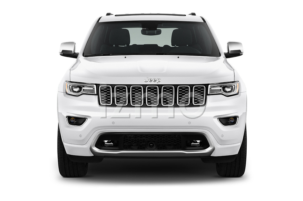 Car photography straight front view of a 2017 Jeep Grand Cherokee Overland 5 Door SUV