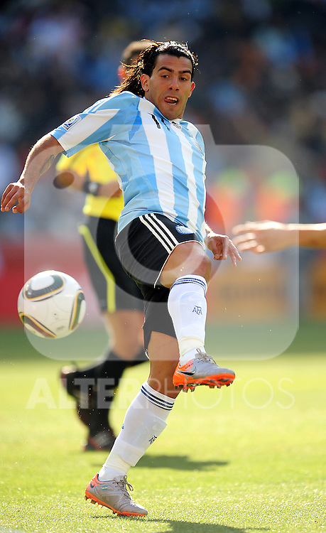 11 Carlos TEVEZ during the 2010 World Cup Soccer match between Argentina vs Korea Republic played at Soccer City in Johannesburg, South Africa on 17 June 2010