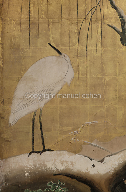 """Herons sur un saule enneige"" (herons on a snowy willow tree), detail, paravent à six volets, Ecole Kano, Epoque Edo, fin du XVIIe siecle, Musee Guimet, Paris, France. Photo Manuel Cohen..""Herons on a snowy willow tree"" (Herons sur un saule enneige), detail, six sections screen, Kano school, Edo period, late 17th century, Mus©e Guimet, Paris, France. Picture Manuel Cohen"