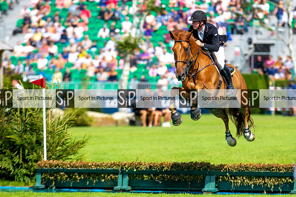 Winner. James Whitaker riding Glenavadra Brilliant. GBR.The BHS Queen ll Cup. Showjumping. Longines FEI Jumping Nations Cup of Great Britain at the BHS Royal International Horse Show. All England Jumping Course. Hickstead. Great Britain. 28/07/2018. ~ MANDATORY Credit Elli Birch/Sportinpictures - NO UNAUTHORISED USE - 07837 394578