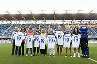 SAN JOSE, CA - JULY 27: Pre-game, Danielle Slaton, Sophie Jones, Brandi Chastain during a Major League Soccer (MLS) match between the San Jose Earthquakes and the Colorado Rapids on July 27, 2019 at Avaya Stadium in San Jose, California.