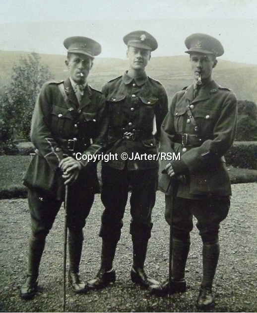 BNPS.co.uk (01202 558833)<br /> Pic: JArter/RSM/BNPS<br /> <br /> Capt James Lloyd (right) of the Welsh Regiment with his two brothers, John (left) and Geoff. He was wounded at Mametz Wood in 1916 and recruited by MI7b in 1917, joining A.A. Milne producing what they thought was counter- propaganda.<br /> <br /> A book of writings co-authored by AA Milne colourfully reflecting on his time spent as a First World War propagandist is being displayed for the first time ever. <br /> <br /> 'The Green Book' was written by the Winnie the Pooh author and fellow members of MI7b - a little-known intelligence branch of the War Office that produced propaganda. <br /> <br /> When the war ended officials attempted to destroy all traces of the secret department but four years ago 150 documents were unearthed inside the attic of one of its members. <br /> <br /> Now the ultra-rare copy, which is one of only two that exist, has been placed on display at the Royal Signals Museum in Blandford, Dorset.