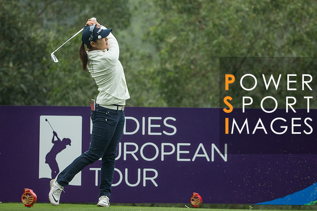 Ji Hyun Kim of South Korea tees off at the 2nd hole during Round 3 of the World Ladies Championship 2016 on 12 March 2016 at Mission Hills Olazabal Golf Course in Dongguan, China. Photo by Victor Fraile / Power Sport Images