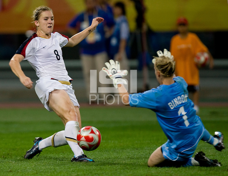 Amy Rodriguez, Jenny Bindon. The USWNT defeated New Zealand, 4-0, during the 2008 Beijing Olympics in Shenyang, China.  With the win, the USWNT won group G and advanced to the semifinals.