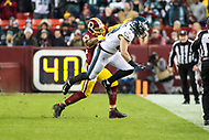 Landover, MD - December 30, 2018: Philadelphia Eagles tight end Dallas Goedert (88) catches a pass during the  game between Philadelphia Eagles and Washington Redskins at FedEx Field in Landover, MD.   (Photo by Elliott Brown/Media Images International)