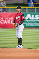 Ronny Cedeno (5) of the Sacramento River Cats on defense against the Salt Lake Bees in Pacific Coast League action at Smith's Ballpark on April 17, 2015 in Salt Lake City, Utah.  (Stephen Smith/Four Seam Images)
