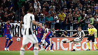 Football Soccer: UEFA Champions UEFA Champions League quarter final first leg Juventus-Barcellona, Juventus stadium, Turin, Italy, April 11, 2017. <br /> Juventus Paulo Dybala scores during the Uefa Champions League football match between Juventus and Barcelona at the Juventus stadium, on April 11 ,2017.<br /> UPDATE IMAGES PRESS/Isabella Bonotto
