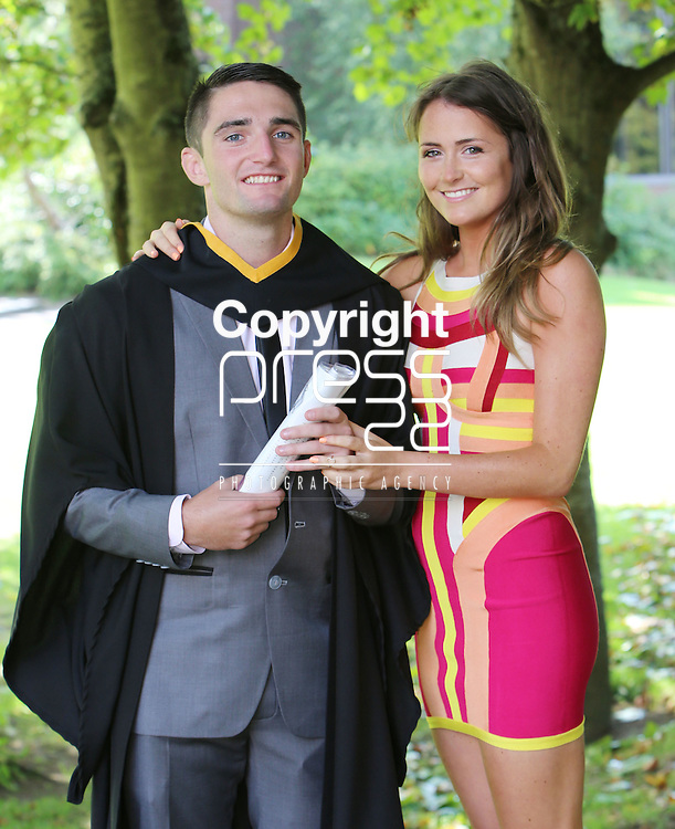 28/8/2014  Attending the University of Limerick conferrings on Thursday was Tim Rafferty, Tipperary town who was conferred with a BSc Food Science and Health with girlfriend Clara Garry. <br /> Picture Liam Burke/Press 22