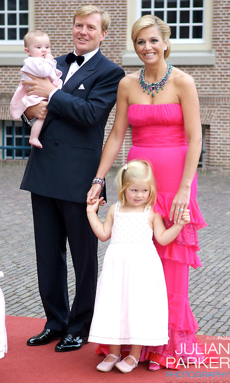 Crown Prince Willem Alexander, and Crown Princess Maxima of Holland arrive with Daughters, Princess Catharina Amalia, and Princess Ariane, for a Reception at Het Loo Palace in Apeldoorn, to celebrate the 40th Birthday of Crown Prince Willem Alexander, The Prince turned forty in April earlier this year.
