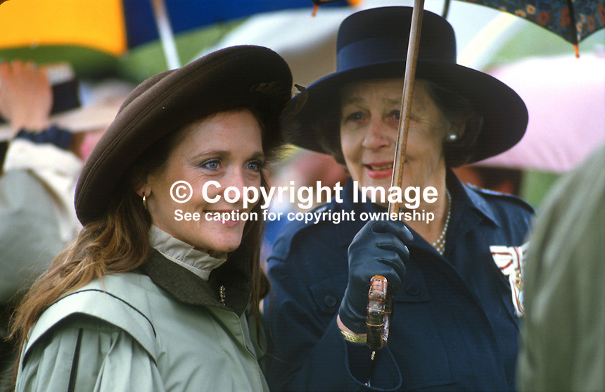 Leonora Anson, Countess of Lichfield,  neé Grosvenor, wife of society photographer, Lord Lichfield, photographed with her mother, the Dowager Duchess of Westminster, at a Riding for the Disabled event in Co Fermanagh attended by the Princess Royal, Princess Anne, during a royal visit to N Ireland, May 1985. 19850503LL1..Copyright Image from Victor Patterson, 54 Dorchester Park, Belfast, UK, BT9 6RJ..Tel: +44 28 9066 1296.Mob: +44 7802 353836.Voicemail +44 20 8816 7153.Skype: victorpattersonbelfast.Email: victorpatterson@me.com.Email: victorpatterson@ireland.com (back-up)..IMPORTANT: If you wish to use this image or any other of my images please go to www.victorpatterson.com and click on the Terms & Conditions. Then contact me by email or phone with the reference number(s) of the image(s) concerned.