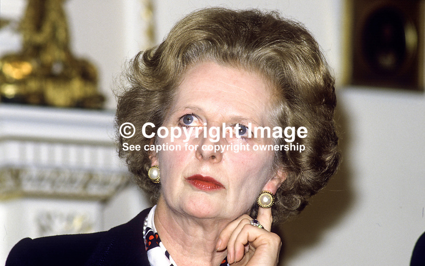 UK Prime Minister Margaret Thatcher, at signing of Anglo-Irish Agreement, Hillsborough Castle, N Ireland, 198511106MT4.<br />