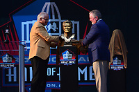 Canton, Ohio - August 3, 2019: Johnny Robinson unveils his bust at the Tom Benson Hall of Fame Stadium in Canton, Ohio August 3, 2019 after his induction into the Pro Football Hall of Fame.  (Photo by Don Baxter/Media Images International)