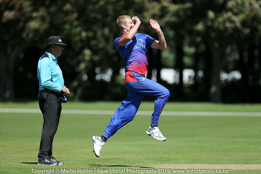 Kyle Jamieson bowls. Wellington Firebirds v Auckland Aces Ford Trophy One Day Match Round Three at Lincoln No.3 in Lincoln, New Zealand on Monday, 25 November 2019. Photo: Martin Hunter / lintottphoto.co.nz