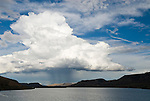 Summer monsoonal thunderstorm over Blue Mesa Reservoir, Curecani National Recreation Area on the Gunnison River in Colorado's Rocky Mountains