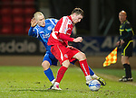 St Johnstone v Brechin....22.03.11  Scottish Cup Quarter Final replay.Rory McAllister battles with Danny Grainger.Picture by Graeme Hart..Copyright Perthshire Picture Agency.Tel: 01738 623350  Mobile: 07990 594431