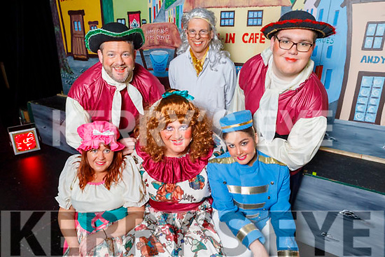 Members of the Ladies Chorus and main cast, getting ready back stage at the the Cinderella Panto in the KDYS Killorglin on Sunday.<br /> Front l to r: Noleen Gamble, Kevin Moriarty (Lady Inertia) and Emily Jouen (Buttons).<br /> Back l to r: Tom O'Connor, John Creagh (Dr Jeykill) and Eoin O'Sullivan.