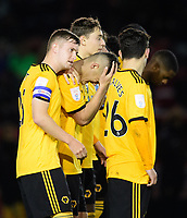 Wolverhampton Wanderers U21's Ryan Giles, second in from left, reacts after his penalty miss<br /> <br /> Photographer Chris Vaughan/CameraSport<br /> <br /> The EFL Checkatrade Trophy Northern Group H - Lincoln City v Wolverhampton Wanderers U21 - Tuesday 6th November 2018 - Sincil Bank - Lincoln<br />  <br /> World Copyright © 2018 CameraSport. All rights reserved. 43 Linden Ave. Countesthorpe. Leicester. England. LE8 5PG - Tel: +44 (0) 116 277 4147 - admin@camerasport.com - www.camerasport.com<br /> <br /> Photographer Chris Vaughan/CameraSport<br /> <br /> The EFL Checkatrade Trophy Northern Group H - Lincoln City v Wolverhampton Wanderers U21 - Tuesday 6th November 2018 - Sincil Bank - Lincoln<br />  <br /> World Copyright © 2018 CameraSport. All rights reserved. 43 Linden Ave. Countesthorpe. Leicester. England. LE8 5PG - Tel: +44 (0) 116 277 4147 - admin@camerasport.com - www.camerasport.com