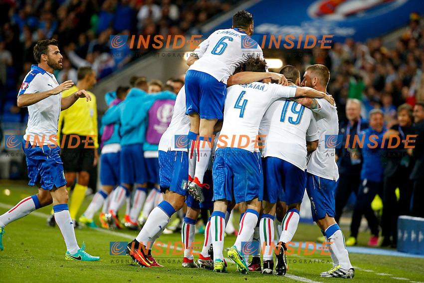 Esultanza Gol Emanuele Giaccherini Italy Celebration Goal <br /> Lyon 13-06-2016 Stade de Lyon Footballl Euro2016 Belgium - Italy / Belgio - Italia Group Stage Group D. Foto Photo News / Panoramic  / Insidefoto