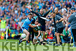 Diarmuid Connolly, Dublin in action against Jonathan Lyne, Kerry during the GAA Football All-Ireland Senior Championship Final match between Kerry and Dublin at Croke Park in Dublin on Sunday.