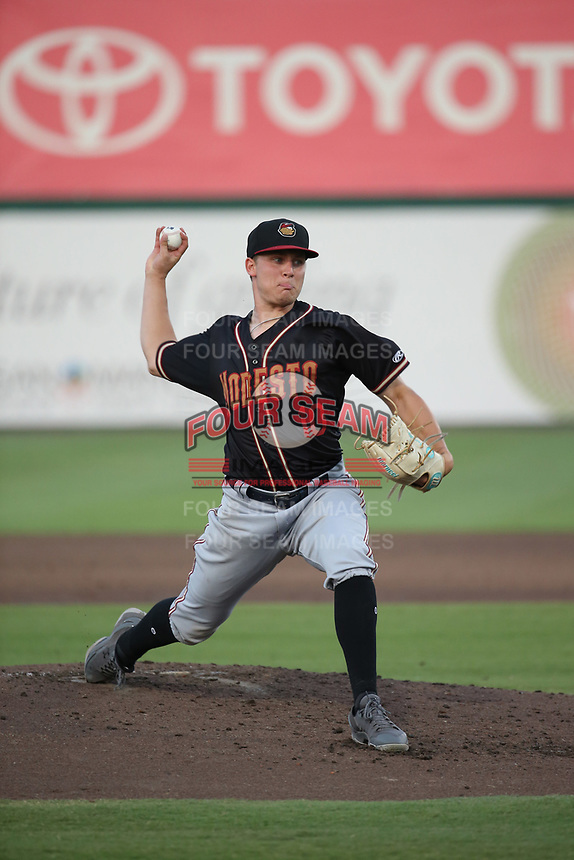 Nick Neidert (10) of the Modesto Nuts pitches against the Inland Empire 66ers at San Manuel Stadium on June 2, 2017 in San Bernardino, California. Inland Empire defeated Modesto, 7-2. (Larry Goren/Four Seam Images)