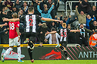 Matthew Longstaff of Newcastle United celebrates after scoring during the Premier League match between Newcastle United and Manchester United at St. James's Park, Newcastle, England on 6 October 2019. Photo by James  Gill / PRiME Media Images.