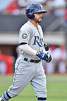 Princeton Rays second baseman Jake Palomaki (1) walks to first base during a game against the Johnson City Cardinals at TVA Credit Union Ballpark on August 9, 2018 in Johnson City, Tennessee. The Rays defeated the Cardinals 10-2. (Tony Farlow/Four Seam Images)
