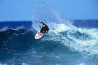 Shaun Brooks (AUS) surfing at his home break of Winki Pop, Bells Beach, Torquay, Victoria, Australia. circa 1992.Photo:joliphotos.com
