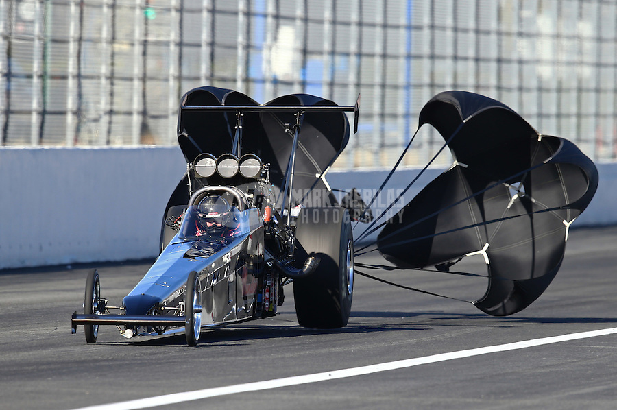 Feb 12, 2016; Pomona, CA, USA; NHRA top alcohol dragster driver Shawn Cowie during qualifying for the Winternationals at Auto Club Raceway at Pomona. Mandatory Credit: Mark J. Rebilas-USA TODAY Sports