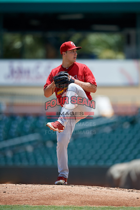 Palm Beach Cardinals starting pitcher Jake Walsh (31) delivers a pitch during a game against the Jupiter Hammerheads on August 5, 2018 at Roger Dean Chevrolet Stadium in Jupiter, Florida.  Jupiter defeated Palm Beach 3-0.  (Mike Janes/Four Seam Images)