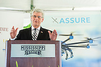 Gov. Phil Bryant speaks at Mississippi State University Friday [June 5] during a campus press conference about the Federal Aviation Administration designating the university as a National Center of Excellence for Unmanned Aircraft Systems. Bryant lauded MSU&rsquo;s leadership and the positive impact that ongoing research and development will have on the state's economy. Bryant said research at MSU has led the world in aerospace, automobile manufacturing and agribusiness.  <br />  (photo by Megan Bean / &copy; Mississippi State University)