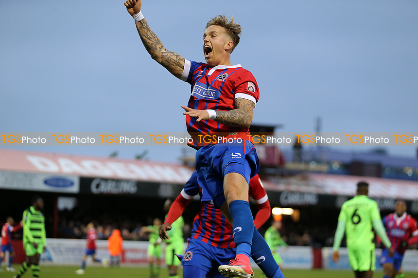 Jordan Maguire-Drew of Dagenham and Redbridge celebrates scoring the opening goal during Dagenham & Redbridge vs Forest Green Rovers, Vanarama National League Play-Off Semi-Final Football at the Chigwell Construction Stadium on 4th May 2017