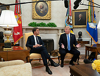 United States President Donald J. Trump speaks during a meeting with the Prime Minster of The Netherlands, Mark Rutte,  at The White House in Washington, DC, July 2, 2018. <br /> CAP/MPI/RS<br /> &copy;RS/MPI/Capital Pictures