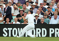 Jonathan Trott of England takes the catch of James Faulkner - England vs Australia - 2nd day of the 5th Investec Ashes Test match at The Kia Oval, London - 22/08/13 - MANDATORY CREDIT: Rob Newell/TGSPHOTO - Self billing applies where appropriate - 0845 094 6026 - contact@tgsphoto.co.uk - NO UNPAID USE