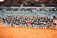 Serbian Novak Djokovic pose for the media with all the ball boys during  TPA Finals Mutua Madrid Open Tennis 2016 in Madrid, May 08, 2016. (ALTERPHOTOS/BorjaB.Hojas) /NortePhoto.com