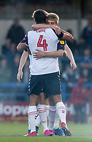 Bolton Wanderers' Ronan Darcy (right) celebrates scoring his side's first goal with his team mates<br /> <br /> Photographer Andrew Kearns/CameraSport<br /> <br /> The Carabao Cup First Round - Rochdale v Bolton Wanderers - Tuesday 13th August 2019 - Spotland Stadium - Rochdale<br />  <br /> World Copyright © 2019 CameraSport. All rights reserved. 43 Linden Ave. Countesthorpe. Leicester. England. LE8 5PG - Tel: +44 (0) 116 277 4147 - admin@camerasport.com - www.camerasport.com