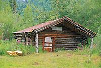 Historic log cabin post office in the small mining town of Wiseman, Brooks Range, Alaska