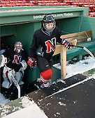 Leah Sulyma (NU - 1), ? - The Northeastern University Huskies practice on the ice at Fenway Park on Thursday, January 7, 2010, in Boston, Massachusetts.