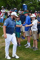 Tyrrell Hatton (ENG) high fives young fans as he approaches the tee on 3 during round 4 of the 2019 Charles Schwab Challenge, Colonial Country Club, Ft. Worth, Texas,  USA. 5/26/2019.<br /> Picture: Golffile | Ken Murray<br /> <br /> All photo usage must carry mandatory copyright credit (© Golffile | Ken Murray)