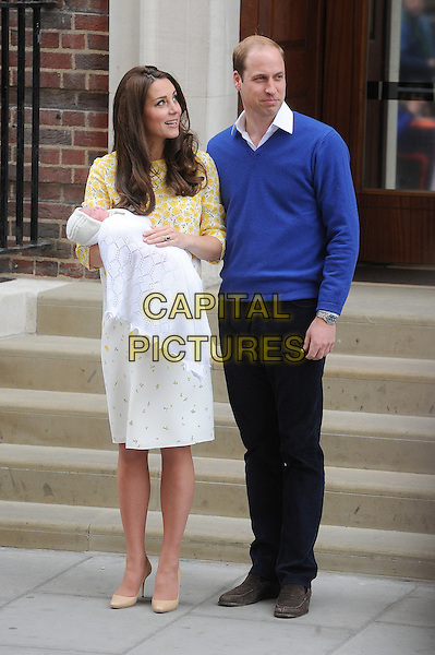 LONDON, ENGLAND - MAY 2: Prince William, Duke of Cambridge and Catherine, Duchess of Cambridge show off their new arrival the Princess of Cambridge to the world outside the Lindo Wing of St. Mary's Hospital in Paddington on May 2, 2015 in London, England.<br /> CAP/BEL<br /> &copy;Tom Belcher/Capital Pictures