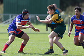 Gergor Christie takes on Lachlan Douglas. Counties Manukau Premier Counties Power Game of the Week Club Rugby Round 4 game between Pukekohe and Ardmore Marist, played at Colin Lawrie Fields Pukekohe on Friday March 30th 2018.<br /> Ardmore Marist won the game 27 - 21 after leading 13 - 11 at halftime.<br /> Pukekohe Mitre 10 Mega 21 -Trent White, Samu Pailegutu tries, Sione Fifita conversion, Sione Fifita 2, Vilitati Sabani penalties. Ardmore Marist South Auckland Motors 27 - Katetistoti Nginingini, Karl Ropati, Alefosio Tapili tries, Latiume Fosita 3 conversions, Latiume Fosita 2 penalties. <br /> Photo by Richard Spranger.