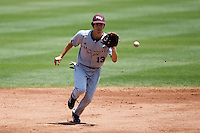 Kevin Medrano (13) of the Missouri State Bears fields a bouncing ground ball during a game against the Wichita State Shockers in the 2012 Missouri Valley Conference Championship Tournament at Hammons Field on May 23, 2012 in Springfield, Missouri. (David Welker/Four Seam Images)