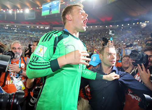 13.07.2014. Rio de Janeiro, Brazil. World Cup Final. Germany versus Argentina. Neuer celebrates with fans