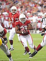 Aug. 28, 2009; Glendale, AZ, USA; Arizona Cardinals running back (26) Beanie Wells against the Green Bay Packers during a preseason game at University of Phoenix Stadium. Mandatory Credit: Mark J. Rebilas-