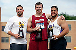 28 MAY 2016:  Edward Cummins of RIC, Tyler Burdorff            of Baldwin Wallace and Luis Rivera of Nazareth celebrate taking first, second and third place during the Division III Men's and Women's Outdoor Track & Field Championship held at Walston Hoover Stadium on the Wartburg College campus in Waverly, IA. Conrad Schmidt/NCAA Photos