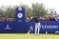 Tiger Woods (Team USA) on the 8th tee during Friday Fourball at the Ryder Cup, Le Golf National, Iles-de-France, France. 28/09/2018.<br /> Picture Thos Caffrey / Golffile.ie<br /> <br /> All photo usage must carry mandatory copyright credit (© Golffile | Thos Caffrey)